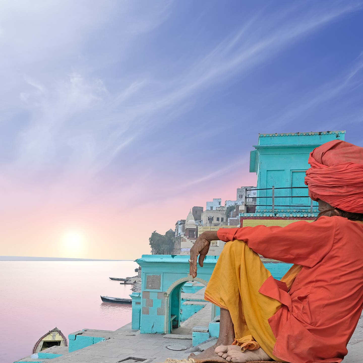 Sadhu by the Ganges Ghat at Varanasi