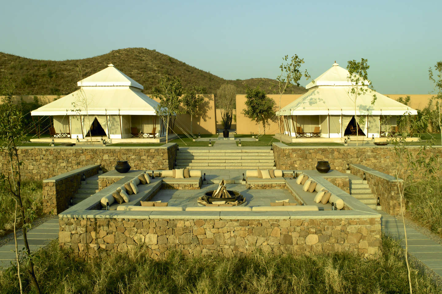 Aman-I-Khas Lounge and dining tents and main fireplace
